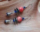 Happy days.Tibal Vibes,Tibetan Drops,Lapis,Primitif,Earthy,Artisan Pottery,Yeelen Spirit,Textured Ethnic Bead Caps Handmade Colorul Earrings