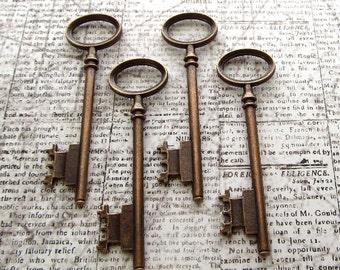 4pcs - Berwick Antique Copper Skeleton Key
