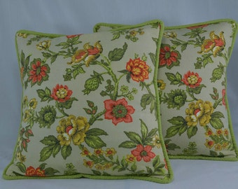 Floral Pillow Cover Pillow Case Handmade with Vintage Floral Fabric - 16 inch Pillows