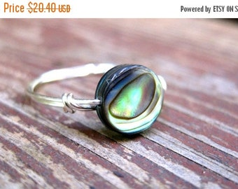 Christmas in July Rustic Shine // Sterling Silver Wire Wrapped Abalone Ring // Made to order //  Custom Size // Nature Inspired // Ocean Ins