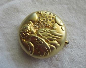 Estee Lauder mirror compact - angel, February, purple, gold, rhinestones