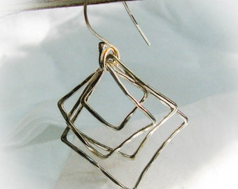 Sterling Silver Square Hoops  Dangle Earrings with Carnelian beads - Organic handmade earring