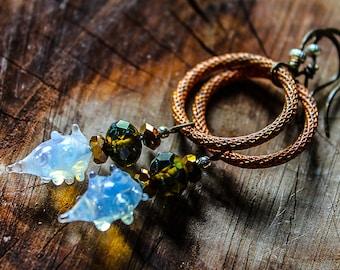 ESSENCE CAPTURED, vintage glass copper hoop earrings, mystic dangles, rustic assemblage