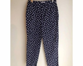 Navy and White Floral Pants