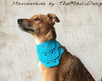 Blue Dog Bandana, Crochet Dog Bandana, Rescue Dog Bandana