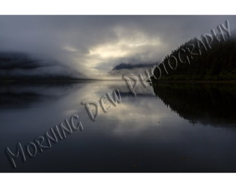 Fox Farm Fog - Photographic print of an evening fog bank settling over the calm waters of Prince William Sound, Alaska