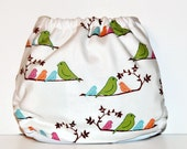 SALE One Size Pocket Cloth Diaper Birds on a Branch, Reusable Cloth Diaper, One Size Cloth Nappy, Pocket Cloth Diaper, Bird Cloth Diaper