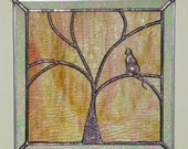 Stained Glass Suncatcher, Cat Sitting in a Tree, Kitty Kitty