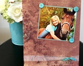 """Cowgirl Silhouette/ Pet Lover Animal New horse home decor handmade magnetic picture frame holds 5"""" x 7"""" photo 9"""" x 11"""" size"""