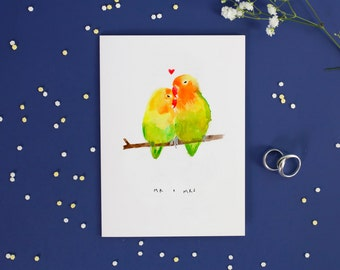 Love Birds Anniversary Card - blank inside - cute wedding card - tropical - wedding cards - made in the UK - eco friendly stationery