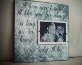Wedding Gift Parents, I'll LOVE YOU FOREVER I'll Like You For Always, 12x12 Father of the Bride Gift, Thank You Gift Parents