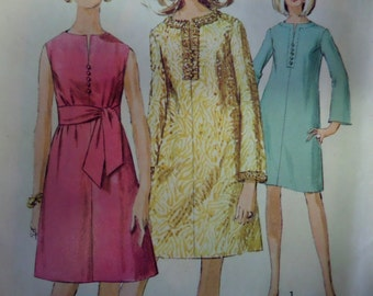 A-LINE DRESS Pattern • Simplicity 7381 • Miss 16 • Button Trim Dress • Slit Neck Dress • Sashed Dress • Vintage Patterns • WhiletheCatNaps