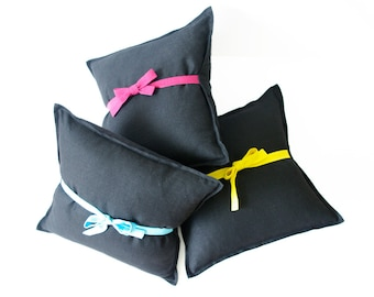 "Pillow cover SALE Black linen pillow cover with bow Size 16""x16"" / 40x40cm"