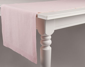 Dusty rose table runner Light pink Ballet slipper color linen table runners with deep hems, mitered corners Classic table linens collection
