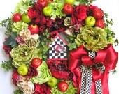 Spring Wreath, Valentine Wreath,Summer Wreath, Bird House Wreath, Apple Wreath, Fruit Wreath, Mother's Day Wreath