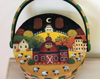 Halloween Folk Art Basket-Whimsical Fall Scene on Wooden Lid - Country Hills, Red Barn, Saltbox Houses, Moon, Sheep, Fall Foliage, Pumpkins