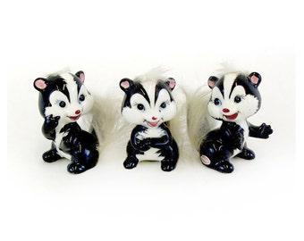 Vintage Cute Furry Tailed Skunk Figurines, Set of 3 (E3348)