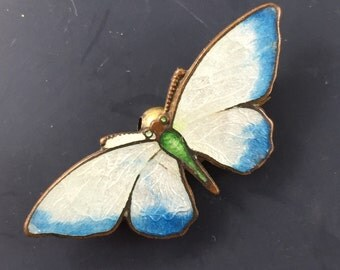 Antique Enamel Butterfly Brooch . Victorian Brooch. Pin No.00995 hs