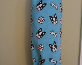 Plastic bag holder, recycle grocery bags  Custom made shown n Boston Terrier French Bulldog Materials