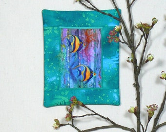 Mini Art Quilt, Fabric Collage, Quilted Wall Art, Quilted Wall Decor, Fiber Art Mini Quilt, Textile Wall Art, Framed Fabric Art