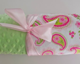 Monogrammed Minky Baby Blanket - Paisley, Hot Pink and Lime Green, Personalized
