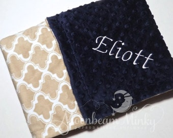 Monogrammed Minky Baby Blanket - Navy Blueand Taupe Quatrefoil Trellis - Personalized