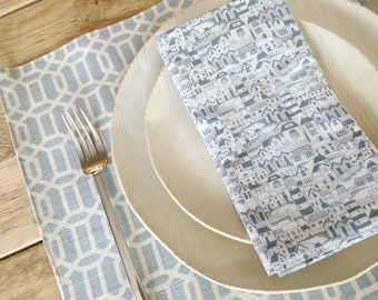 Cloth Napkins - Beach Town Style - Set of 4 Reversible