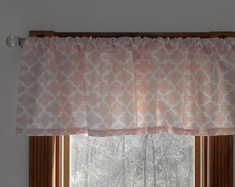 Girl's Room Window Valance 52W x 16L, Pink, White Trellis Home Decor Fabric by Premier Prints,