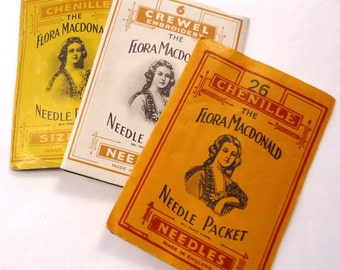 3 vintage/antique packets of Flora Madconald needles - antique ephemera / sewing notions (Ref A47)