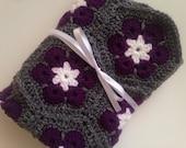 FLASH SALE African flower baby blanket crochet white dark purple dark gray blanket