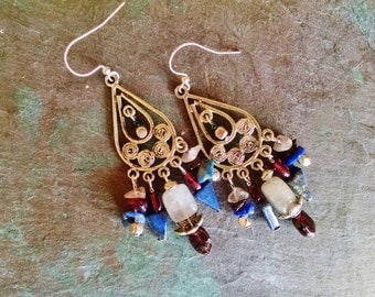 Gemstone chandelier earrings, Silver rose quartz lapis garnet chandelier earrings