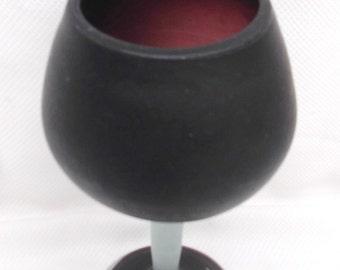 Vintage hand Blown glass goblet Wine Heavy Cranberry