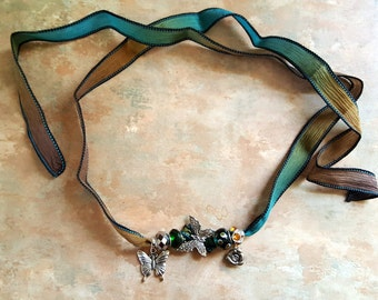 Beautiful Silk Ribbon Necklace/Wrap Bracelet/Boho/Butterflies
