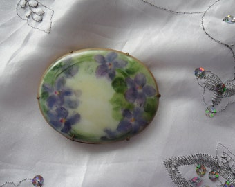 Authentic Vintage Very Very Old Large Hand Painted Porcelain Forget Me Nots Brass, Gold Brooch