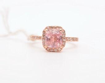 Handmade octagon peach sapphire rose gold diamonds engagement ring Sku - 2474-ANN