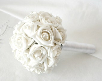 SALE - Bridesmaid Bouquet, Romantic Bouquet, off White Artificial Rosebud Flowergirl Bouquet