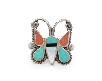 Zuni Inlay Butterfly Sterling Silver Ring