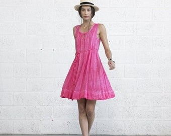 Summer Sale Pink Sundress, Pleated Pink Midi Dress.