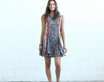 Summer SALE SALE!Flare Midi dress, Orange Paisley