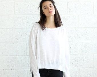 White Sweater,kimono cut sweater,women's sweater
