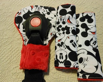 Mickey Mouse Faces Infant/Toddler Reversible Car Seat Strap And Belly Buckle Cover