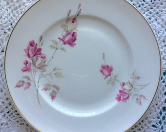 Crown Stafford Shire Plate, Antique Crown China Plate, Hand Painted Roses Plate, Shabby Chic China Plate, Wedding China Plate