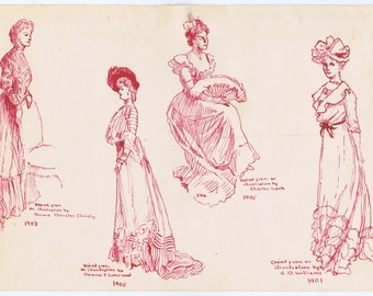 Antique Vintage Gibson era Fashion Costume Pen Drawing Turn of Century Book Illustrators