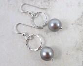 Tahitian Pearl Earrings, Sterling Silver, Hammered Hoops, Genuine Silver Pearls, Hawaii Beach Jewelry, Elegant, Gift Idea for Her, Gemstones