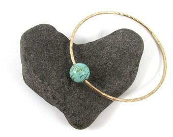 Turquoise Gemstone Gold Hammered Bangle, Elegant Holiday Christmas Gift Idea, December Birthday Jewelry, Handmade Maui, Gemstones, Bracelet