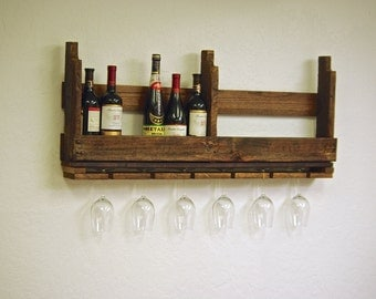 Reclaimed wood pallet Wine rack countryside rustic kitchen farmhouse Furniture with wine glass holders farm barn primitive 10 12 bottle 40""