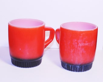 Vintage Anchor Hocking Fire King Ware Coffee Cup, Red Orange Coffee Cup, Black Bottom Coffee Cups