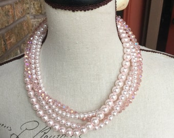 clearanced Pink pearls and crystals as pictured, multi strand necklace, statement necklace, wedding jewelry