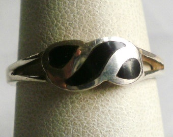 Sterling Silver Black Onyx Ring-Size 6 3/4
