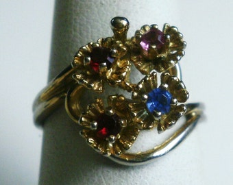 Vintage Sterling Silver Multicolored Flower Ring-Size 7